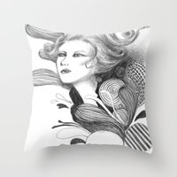 beethoven Throw Pillows featuring Beethoven by Wendy Ding: Illustration