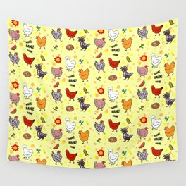 Cute seamless chickens pattern cartoon Wall Tapestry