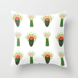 Palm Leaf and Flower Offerings Throw Pillow