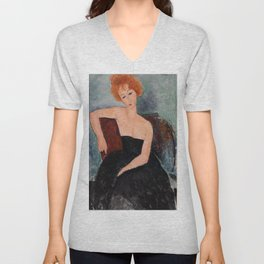 Redheaded Girl in Evening Dress by Amedeo Modigliani, 1918 Unisex V-Neck