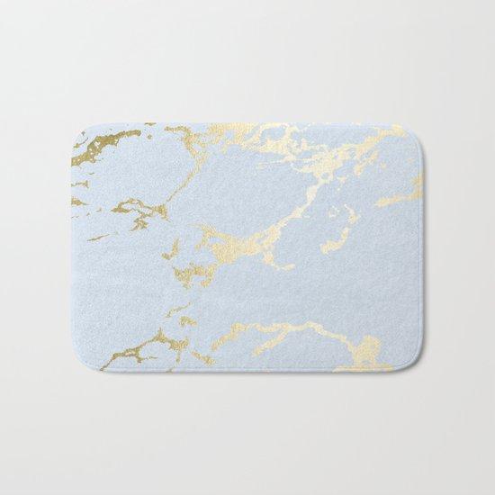Simply Kintsugi Ceramic Gold on Sky Blue Bath Mat
