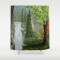 waterfall Shower Curtains featuring Waterfall by Turul