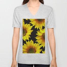 Large Sunflowers on a black background - #Society6 #buyart Unisex V-Neck