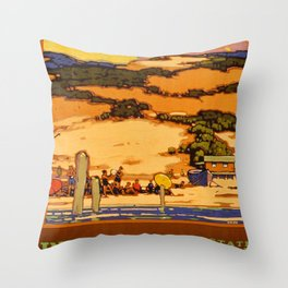 Indiana Dunes Vintage Travel Poster Throw Pillow