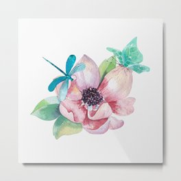 Butterfly and Dragonfly with Flowers Metal Print