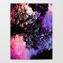 Black Trees Pink Purple Space Poster