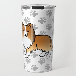 Sable Shetland Sheepdog Dog Cartoon Illustration Travel Mug
