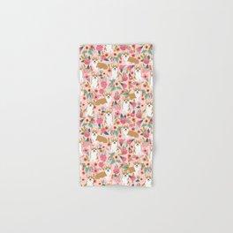Corgi Florals - vintage corgi and florals gift gifts for dog lovers, corgi clothing, corgi decor, Hand & Bath Towel