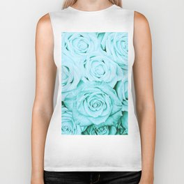 Turquoise roses - flower pattern - Vintage rose Biker Tank