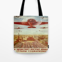 Vintage poster - Russian plane Tote Bag