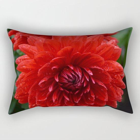 Fresh Rain Drops - Red Dahlia Rectangular Pillow