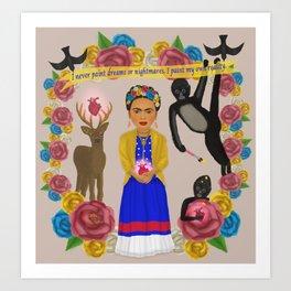 Frida Kahlo Tribute Grey Art Print