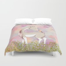 Baby Deer With Bird Watercolor Painting Duvet Cover