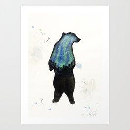 Aurora Borialis Bear Art Print