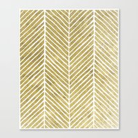 gold foil Canvas Prints featuring Gold Foil Chevron by Berty Bob