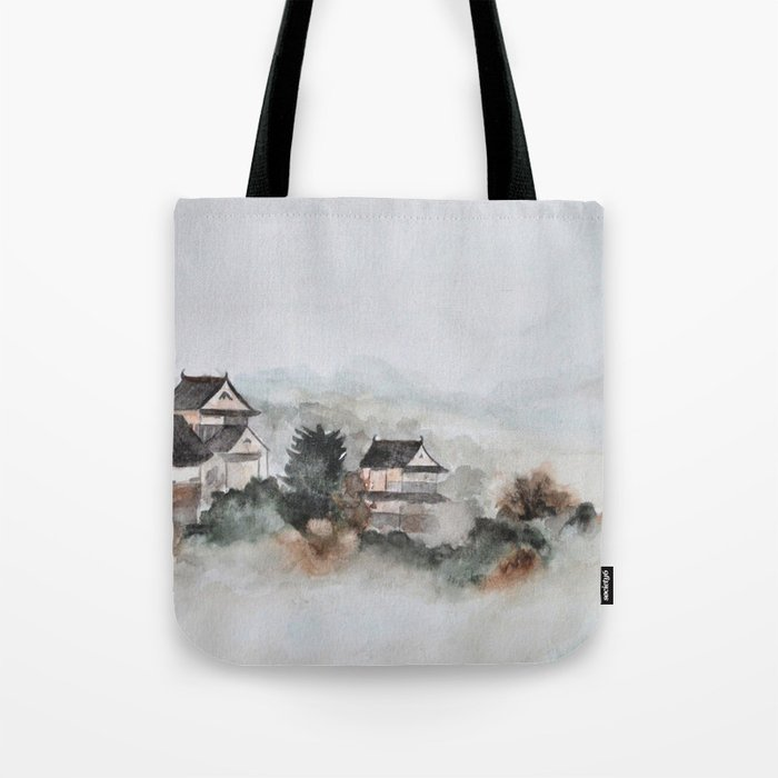 Japanese ancient city in fogging day Tote Bag