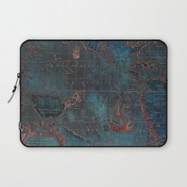 Antique Map Teal Blue and Copper Laptop Sleeve