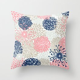 Floral Mixed Blooms, Blush Pink, Navy Blue, Gray, Beige Throw Pillow