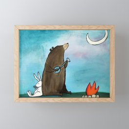 Campfire Bear Framed Mini Art Print