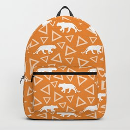 Wild African walking white lioness silhouettes and abstract triangle shapes. Stylish whimsical ethnic bright sunny orange retro vintage geometric animal nature pattern. Backpack