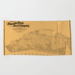 Map of Sausalito 1868 Beach Towel