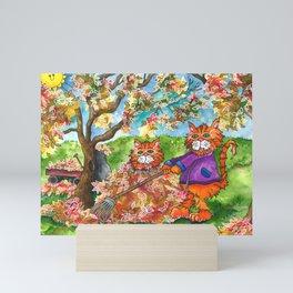 Cats Raking Autumn Leaves Mini Art Print