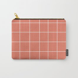 Minimal Grid in Salmon Carry-All Pouch