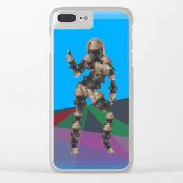 Sexy pump 1. On multicolored background. (Predominance of light blue) Clear iPhone Case