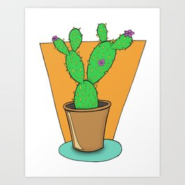 Cacti with Flowers Art Print