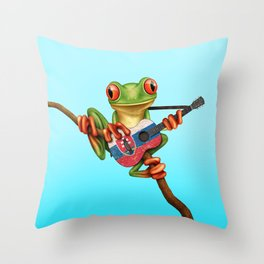 Tree Frog Playing Acoustic Guitar with Flag of Slovakia Throw Pillow