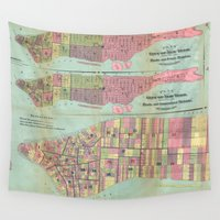 political Wall Tapestries featuring Vintage NYC Political Ward Map (1870) by BravuraMedia