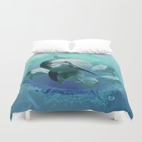 dolphins Duvet Covers featuring Dolphins by Lynne Hoad