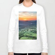 Beautiful sunset behind green fields Long Sleeve T-shirt