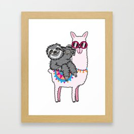 Sloth Music Llama Framed Art Print