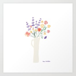 Watercolor floral bouquet in tall pitcher Art Print