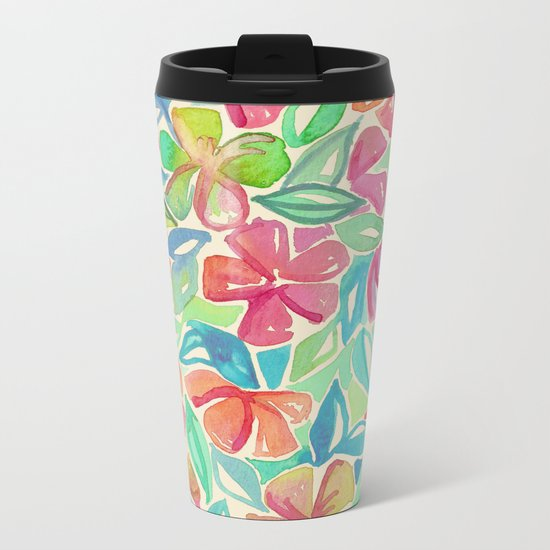 Tropical Floral Watercolor Painting Metal Travel Mug