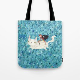 White giant cat Tote Bag