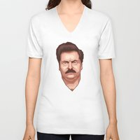 swanson V-neck T-shirts featuring Swanson by Skeleton Jack