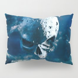 Reaper Moon Rising / 3D render of cratered skull moon in night sky Pillow Sham