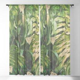 Leaf & gold Sheer Curtain