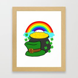 Pot Of Gold Hat And Rainbow Clover St Patricks Day Framed Art Print
