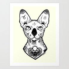 Sphynx Tattooed Art Print
