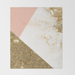 Gold marble collage Throw Blanket
