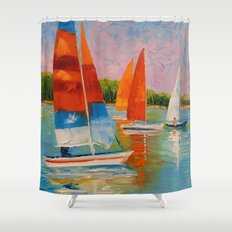Sailboats on the river Shower Curtain