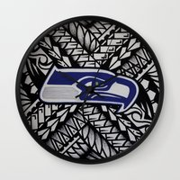 seahawks Wall Clocks featuring Seahawks poly style by Lonica Photography & Poly Designs