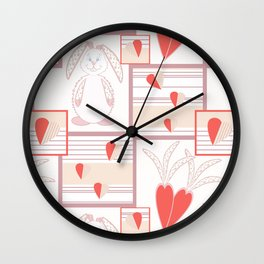 Children pattern with rabbits and hearts. Wall Clock