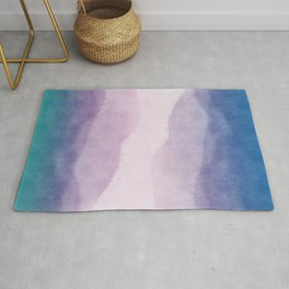 Watercolor sky at sunset. Rug