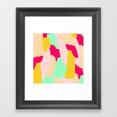 Modern  bright pink mustard turquoise geometric pattern illustration Framed Art Print