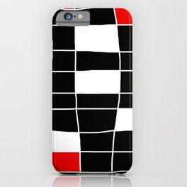 Rectangles white and red - black background iPhone Case