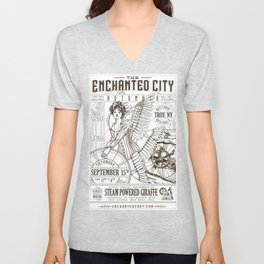 The Enchanted City 2018 Poster, black and white Unisex V-Neck